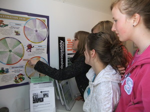 Students look over a career map